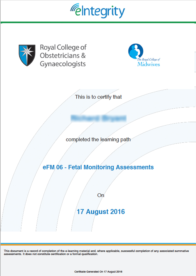 Electronic Fetal Monitoring Training Efm Eintegrity Award
